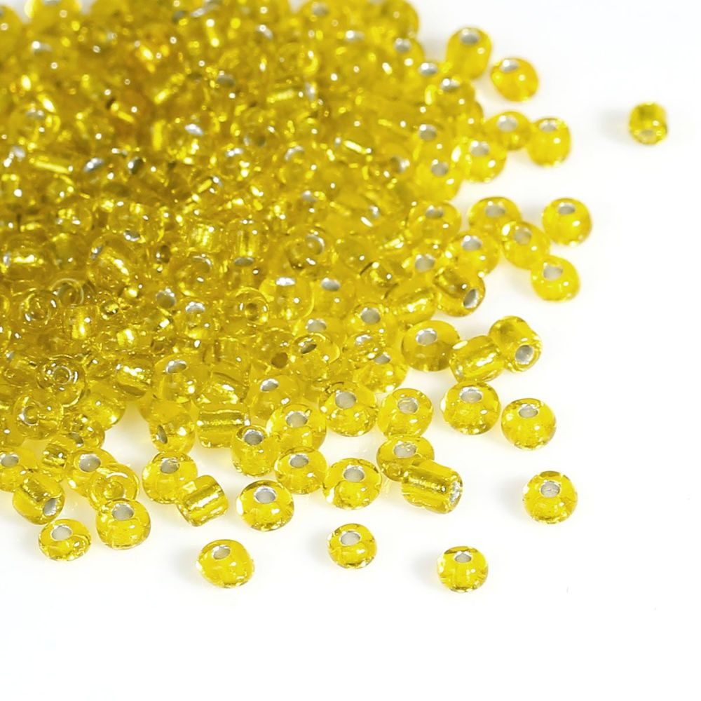 Glass Seed Beads - Yellow - Silver Lined - Size 10/0