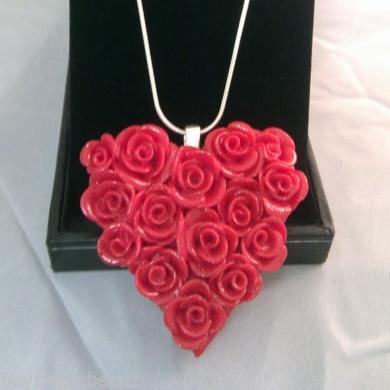 Beautiful Rose Heart Pendant