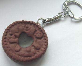 Chocolate Dodger Biscuit Keyring