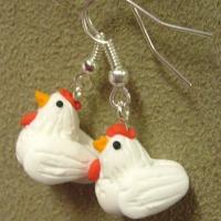 White Hen Earrings