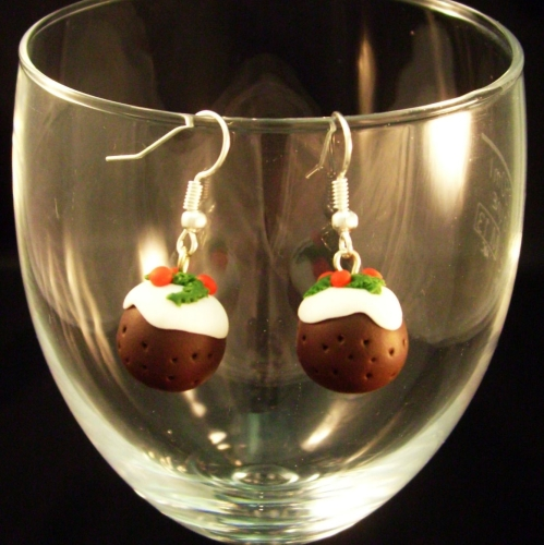 Bright Beadz Fun Novelty Christmas Pudding Earrings