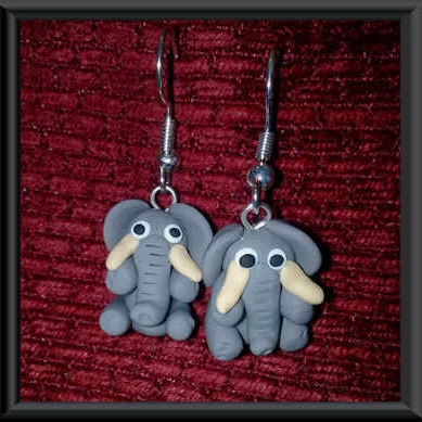 Bright Beadz Fun Novelty Ella Grey Elephant Earrings