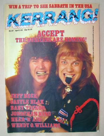 <!--1986-04-03-->Kerrang magazine - Peter Baltes and Wolf Hoffmann cover (3