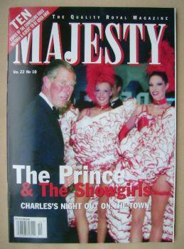 Majesty magazine - Prince Charles cover (October 2001 - Volume 22 No 10)