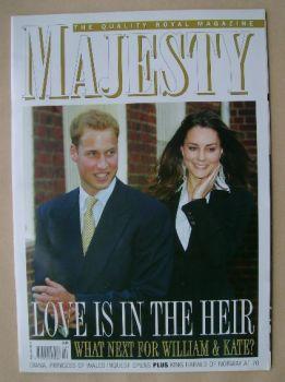 Majesty magazine - Prince William and Kate Middleton cover (February 2007 - Volume 28 No 2)