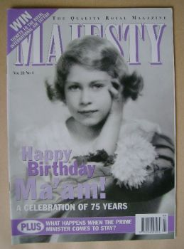 Majesty magazine - Princess Elizabeth cover (April 2001 - Volume 22 No 4)