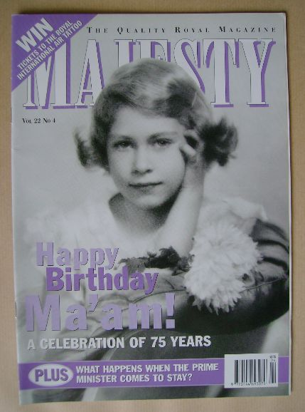 <!--2001-04-->Majesty magazine - Princess Elizabeth cover (April 2001 - Vol