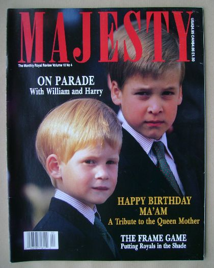 <!--1989-08-->Majesty magazine - Prince William and Prince Harry cover (Aug