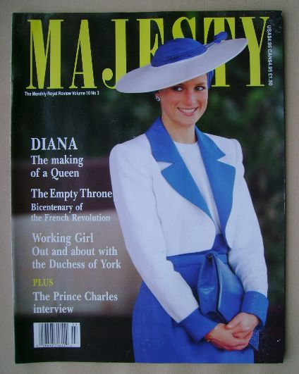 <!--1989-07-->Majesty magazine - Princess Diana cover (July 1989 - Volume 1