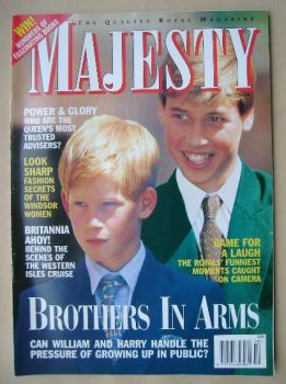 Majesty magazine - Prince William and Prince Harry cover (October 1996 - Volume 17 No 10)