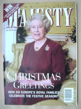 Majesty magazine - The Queen cover (December 2001 - Volume 22 No 12)