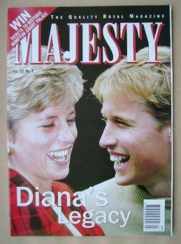 Majesty magazine - Princess Diana / Prince William cover (July 2001 - Volume 22 No 7)