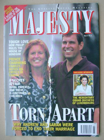 <!--1996-06-->Majesty magazine - Sarah Ferguson / Prince Andrew cover (June