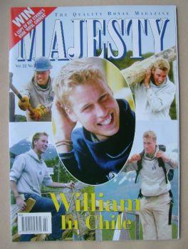 Majesty magazine - Prince William cover (February 2001 - Volume 22 No 2)
