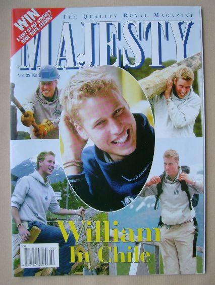 <!--2001-02-->Majesty magazine - Prince William cover (February 2001 - Volu