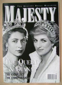 Majesty magazine - The Queen / Princess Diana cover (September 2000 - Volume 21 No 9)