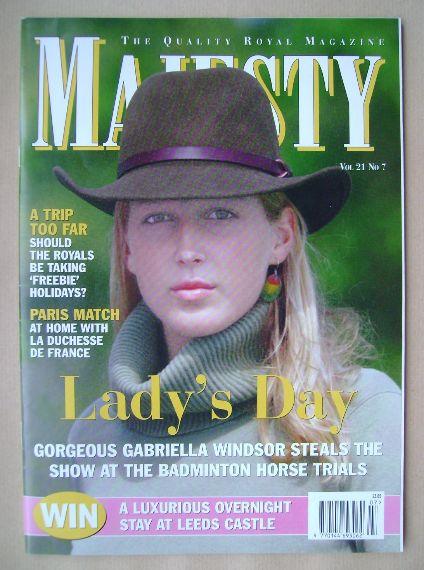 <!--2000-07-->Majesty magazine - Gabriella Windsor cover (July 2000 - Volum