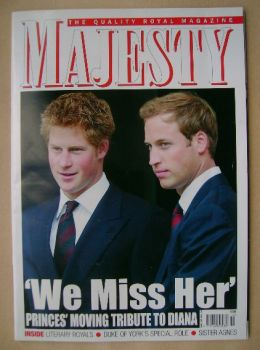 Majesty magazine - Prince Harry and Prince William cover (October 2007 - Volume 28 No 10)