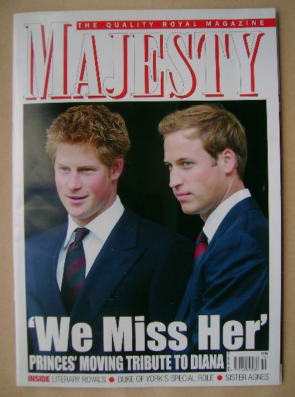 <!--2007-10-->Majesty magazine - Prince Harry and Prince William cover (Oct