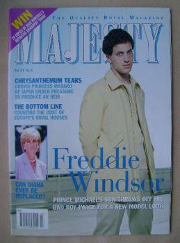 Majesty magazine - Freddie Windsor cover (March 2000 - Volume 21 No 3)