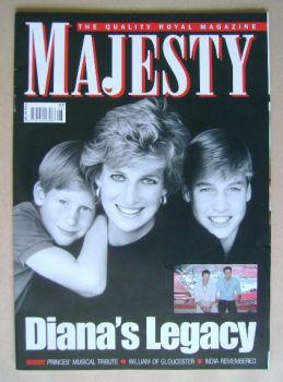 Majesty magazine - Princess Diana, Prince Harry and Prince William cover (August 2007 - Volume 28 No 8)
