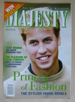 Majesty magazine - Prince William cover (December 2000 - Volume 21 No 12)