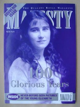 Majesty magazine - The Queen Mother cover (August 2000 - Volume 21 No 8)