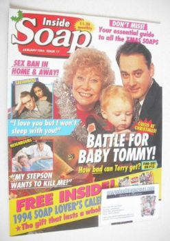 Inside Soap magazine - Nigel Pivaro and Elizabeth Dawn cover (January 1994)