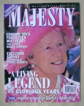 Majesty magazine - The Queen Mother cover (August 1995 - Volume 16 No 8)