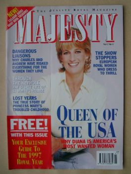 Majesty magazine - Princess Diana cover (November 1996 - Volume 17 No 11)