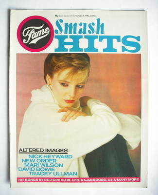 <!--1983-03-31-->Smash Hits magazine - Clare Grogan cover (31 March - 13 Ap