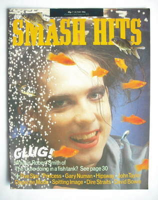 <!--1986-05-07-->Smash Hits magazine - Robert Smith cover (7-20 May 1986)