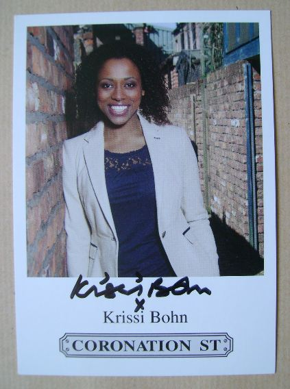Krissi Bohn autograph (hand-signed Coronation Street cast card)
