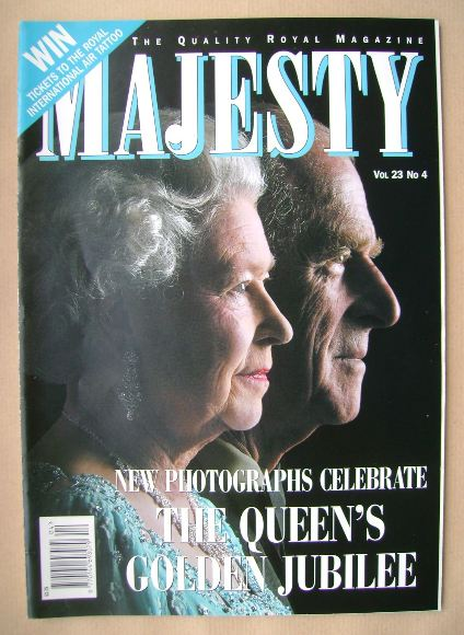<!--2002-04-->Majesty magazine - The Queen and Prince Philip cover (April 2