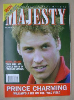 Majesty magazine - Prince William cover (August 2002 - Volume 23 No 8)
