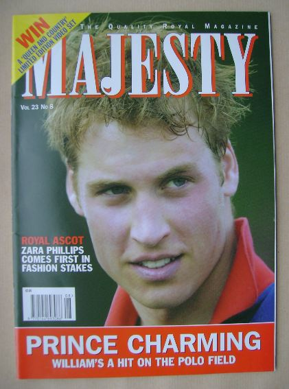 <!--2002-08-->Majesty magazine - Prince William cover (August 2002 - Volume
