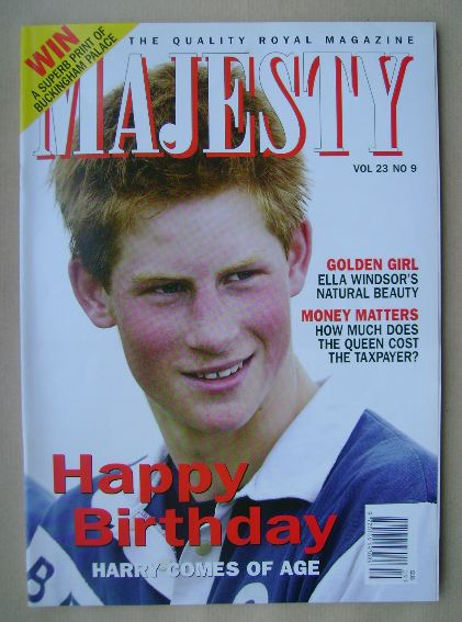 <!--2002-09-->Majesty magazine - Prince Harry cover (September 2002 - Volum
