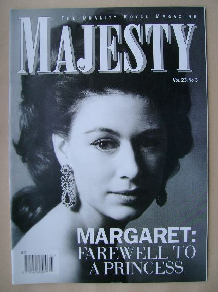 <!--2002-03-->Majesty magazine - Princess Margaret cover (March 2002 - Volu