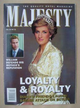 Majesty magazine - Princess Diana cover (December 2003 - Volume 24 No 12)
