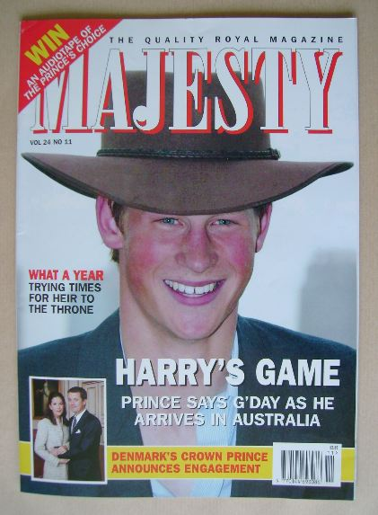 <!--2003-11-->Majesty magazine - Prince Harry cover (November 2003 - Volume