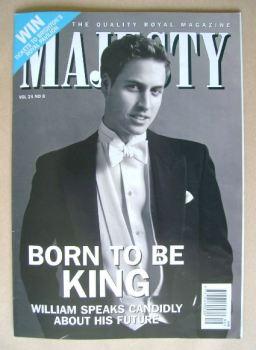 Majesty magazine - Prince William cover (August 2003 - Volume 24 No 8)
