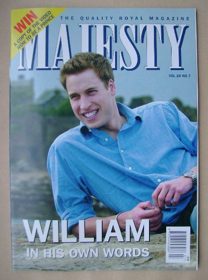 <!--2003-07-->Majesty magazine - Prince William cover (July 2003 - Volume 2