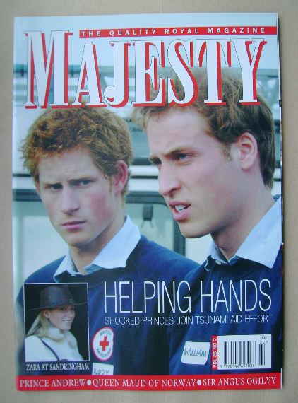 <!--2005-02-->Majesty magazine - Prince Harry and Prince William cover (Feb
