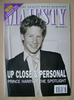 Majesty magazine - Prince Harry cover (November 2002 - Volume 23 No 11)