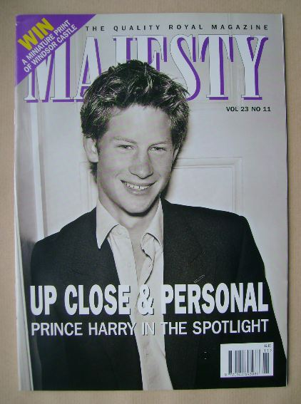 <!--2002-11-->Majesty magazine - Prince Harry cover (November 2002 - Volume