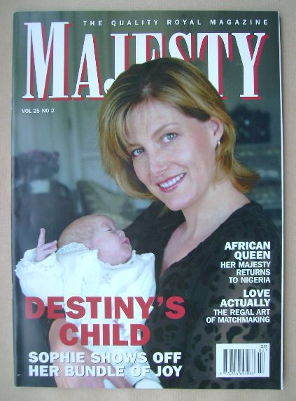 <!--2004-02-->Majesty magazine - The Countess of Wessex and Lady Louise cov