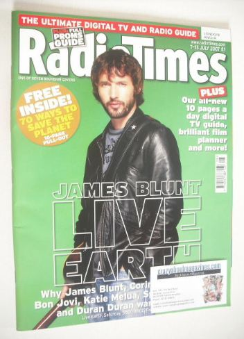 <!--2007-07-07-->Radio Times magazine - James Blunt cover (7-13 July 2007)