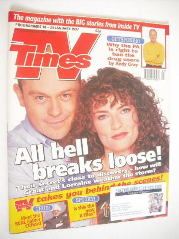 <!--1997-01-18-->TV Times magazine - Ross Kemp and Jacqueline Leonard cover