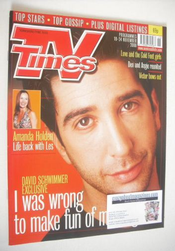 <!--2000-11-18-->TV Times magazine - David Schwimmer cover (18-24 November