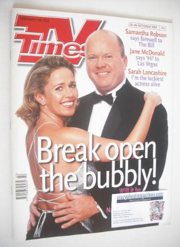 <!--2001-10-20-->TV Times magazine - Lucy Benjamin and Steve McFadden cover